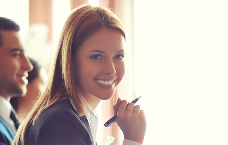 360 review module Corporate woman with pen